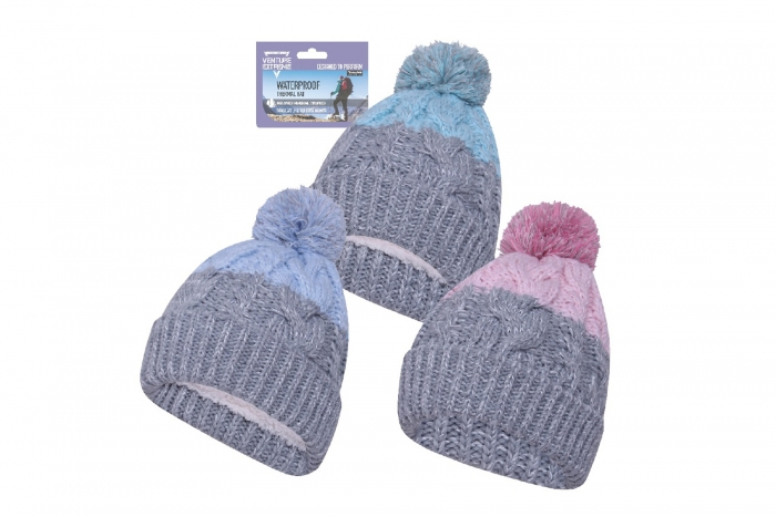 Ladies Waterproof Bobble Hat