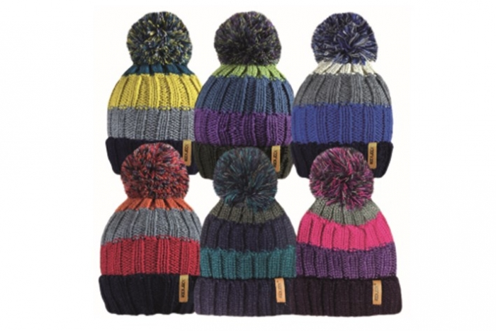Unisex Chunky Knit Striped Bobble Hat