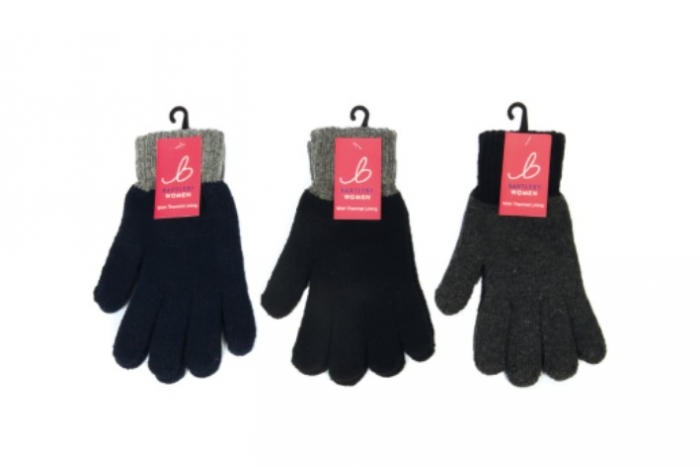 Ladies Knitted Contrast Cuff Glove