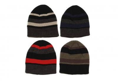 Mens Hat - Knitted, Striped Ski