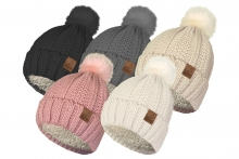 Ladies Chunky Knit Bobble Hat