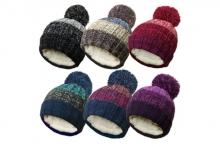 Unisex Marl Bobble Hat - Assorted
