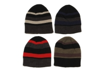 Mens Knitted Striped Beanie Hat