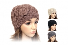 Ladies Hat - Knitted With Flower