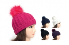 Hat - Girls Chunky Knit, Bobble
