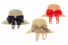 Hat - Ladies, Straw with Bow