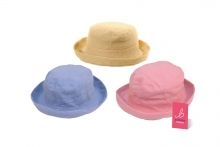 Hat - Ladies, Linen, With Turn Up