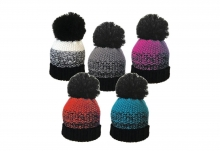 Unisex Hat - Striped Bobble