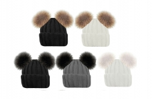 Ladies Hat - Twin Bobbles, Ribbed