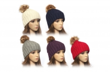 Ladies Hat - Ribbed Knit, Pom Pom