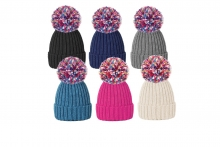Ladies Ribbed Knit Bobble Hat