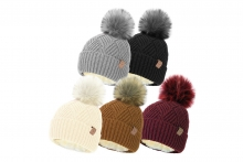Ladies Diamond Knit Bobble Hat