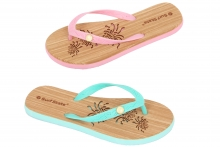 Flip Flops - Ladies, Wood Look, Sizes 3 - 8