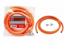 Gas Hose - 2 Metre with clips