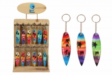 Surfboard Keyring on stand - Cornwall