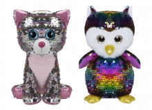 Sequin Owl and Cat - Giant