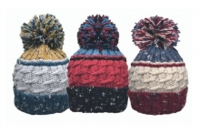Unisex Chunky Knit Marl Bobble Hat