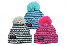 Ladies 'Heat Machine' Striped Bobble Hat