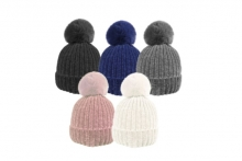 Ladies Chenille Bobble Hat