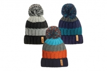 Boys Striped Teddy Lined Bobble Hat