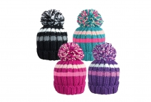 Girls Narrow Striped Bobble Hat