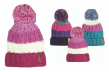 Girls Striped Teddy Lined Bobble Hat