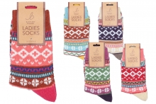Ladies Multi-Coloured Printed Socks
